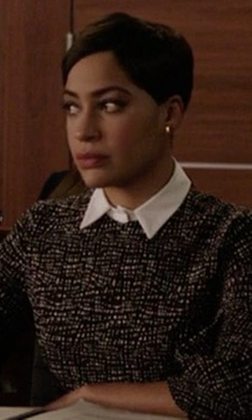 Cush Jumbo with Lela Rose Printed Detachable-Collar A-Line Dress in The Good Fight