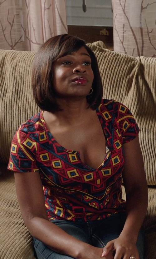 Edwina Findley Dickerson with Lafayette 148 New York Printed Silk Blouse in Get Hard