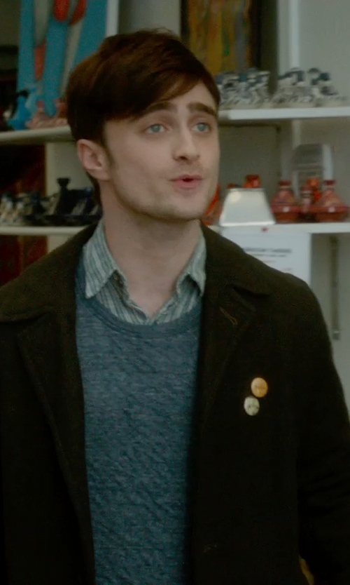 Daniel Radcliffe with Kenneth Cole Men's Rance Double-Breasted Rain Peacoat in What If