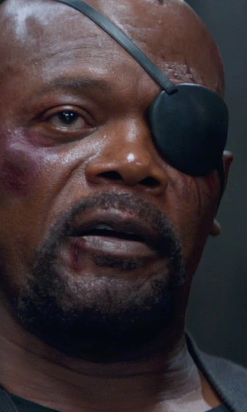 Samuel L. Jackson with Eirewolf Creations original Pirate Eye Patch in Captain America: The Winter Soldier