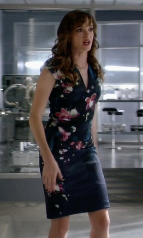 Danielle Panabaker with Ted Baker Antonya Floral Midi Dress in The Flash