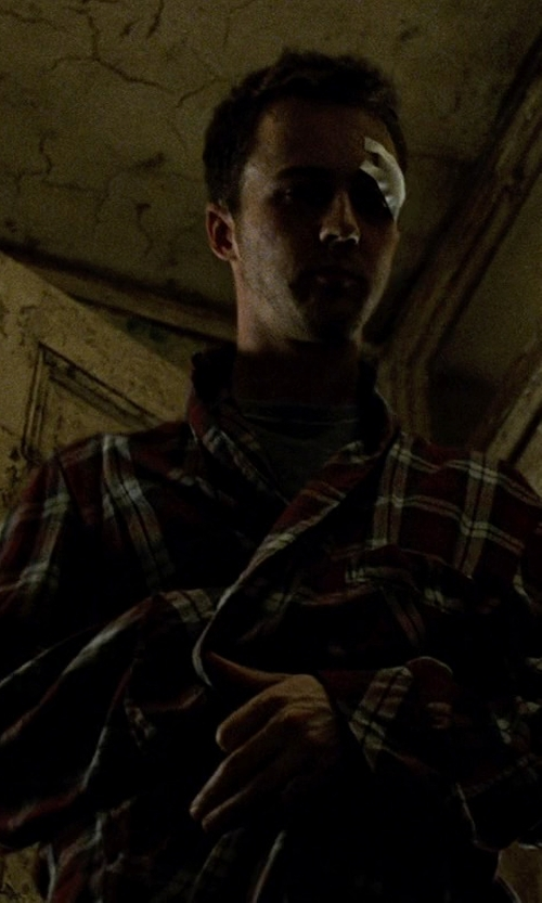Edward Norton with Boss Hugo Boss Innovation 4 Plaid Robe in Fight Club