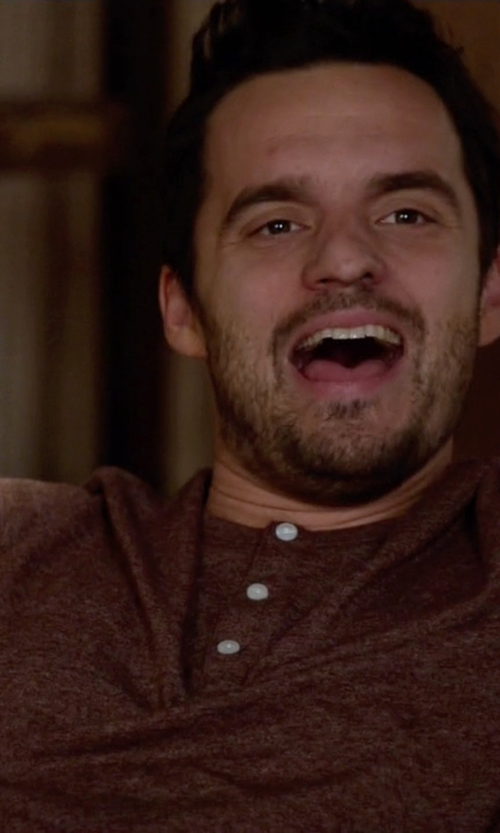 Jake Johnson with Vince  Wool Linen Jaspe Henley in New Girl