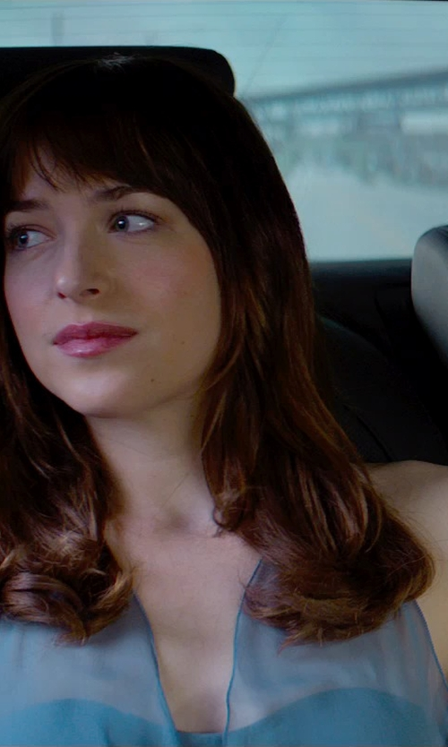Dakota Johnson with David's Bridal Satin Empire Ball Gown with Illusion Halter in Fifty Shades of Grey