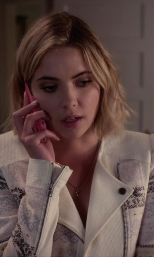 Ashley Benson with BCBGMAXAZRIA Cody Textured Yarn Jacket in Pretty Little Liars