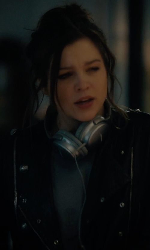 Sophie Cookson with Andrew Marc Ryan Leather Jacket in Gypsy