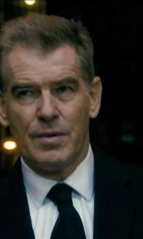 Pierce Brosnan with Armani Collezioni Solid Dress Shirt in Survivor