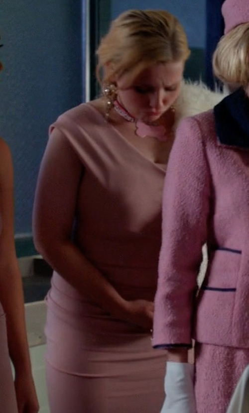 Abigail Breslin with Nicole Bakti One Shoulder Ruffle Back Gown in Scream Queens