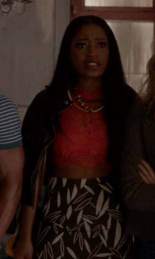 Keke Palmer with Topshop Premium A-Line Jacquard Skirt in Scream Queens
