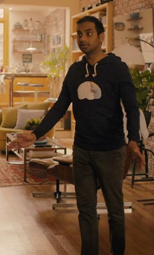Aziz Ansari with Band Of Outsiders Patchwork-Brain Hoodie in Master of None