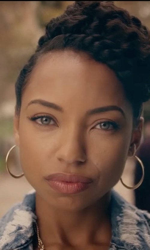 Logan Browning with DL1961 Maddox Denim Jacket in Dear White People