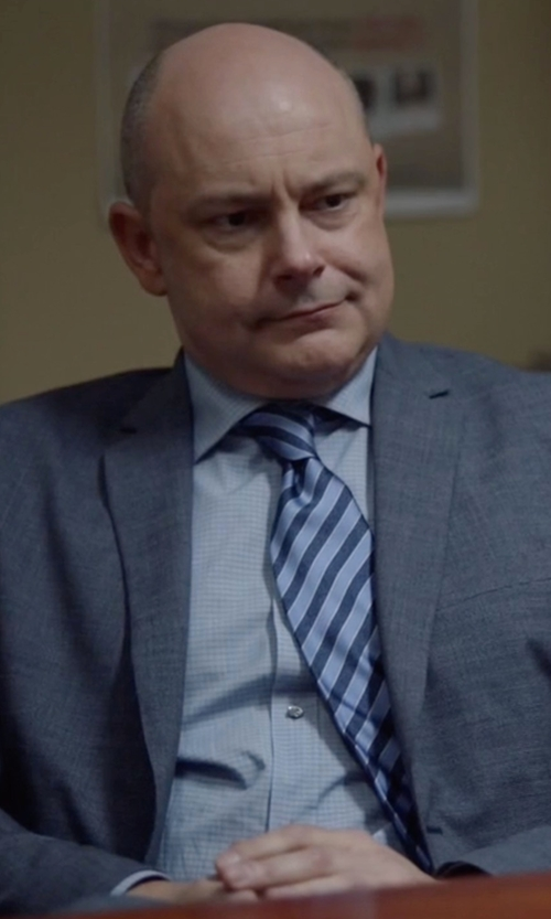 Rob Corddry with Giorgio Armani Two-Toned Striped Slim Silk Tie in Ballers