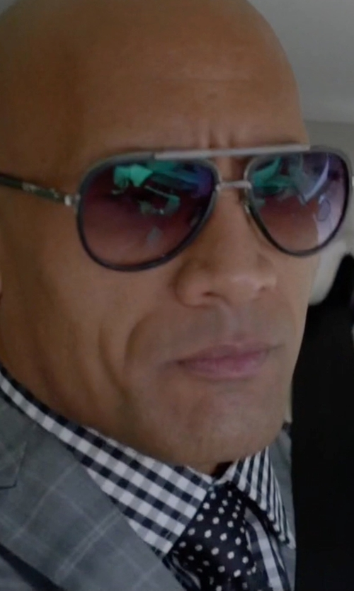 Dwayne Johnson with Ermenegildo Zegna Gingham Check Twill Dress Shirt in Ballers