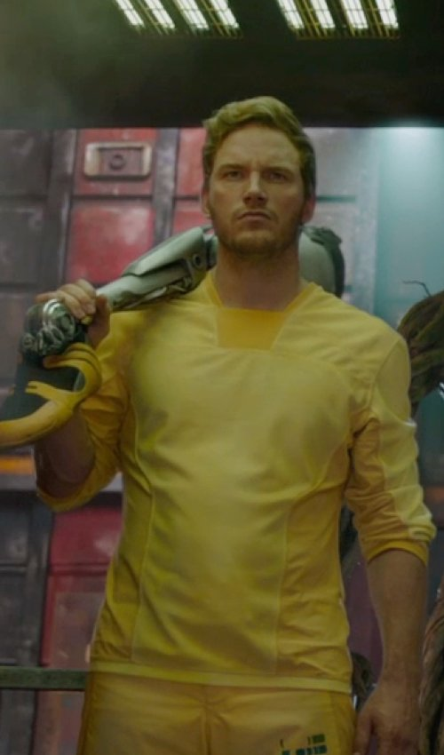 Chris Pratt with Alexandra Byrne (Costume Designer) Custom Made Prisoner's Top (Peter Quill / Star-Lord) in Guardians of the Galaxy