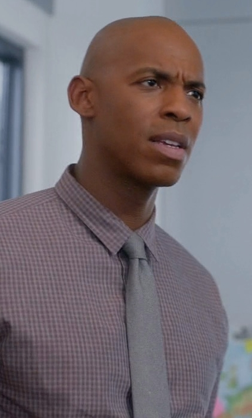 Mehcad Brooks with Eton Contemporary-Fit Check Dress Shirt in Supergirl