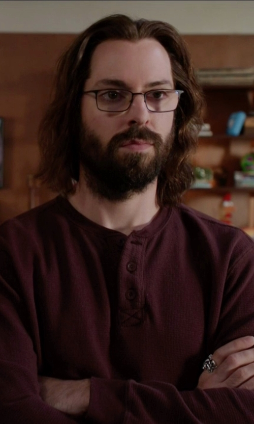 Martin Starr with Tailor Vintage Cotton Long Sleeve Henley in Silicon Valley