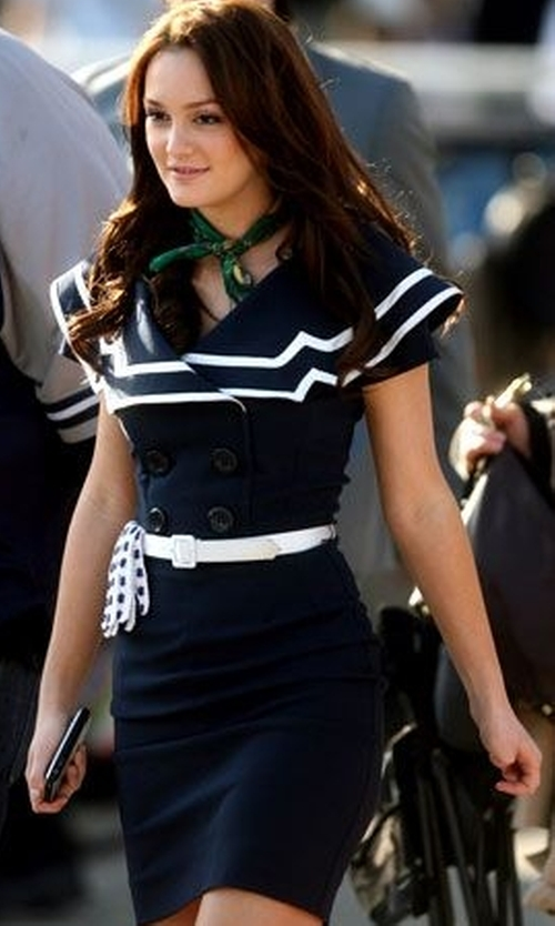 Leighton Meester with Bettie Page Captain Navy Blue Wiggle Dress in Gossip Girl
