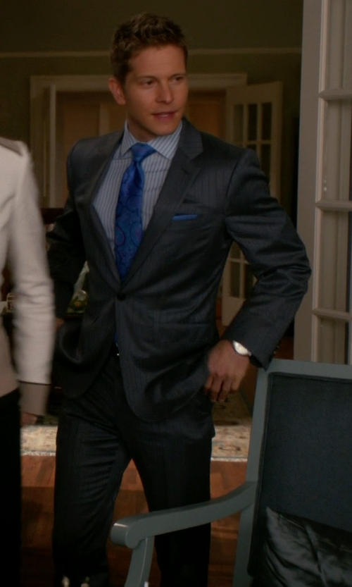 Matt Czuchry with David Donahue 'Ryan' Classic Fit Stripe Wool Suit in The Good Wife