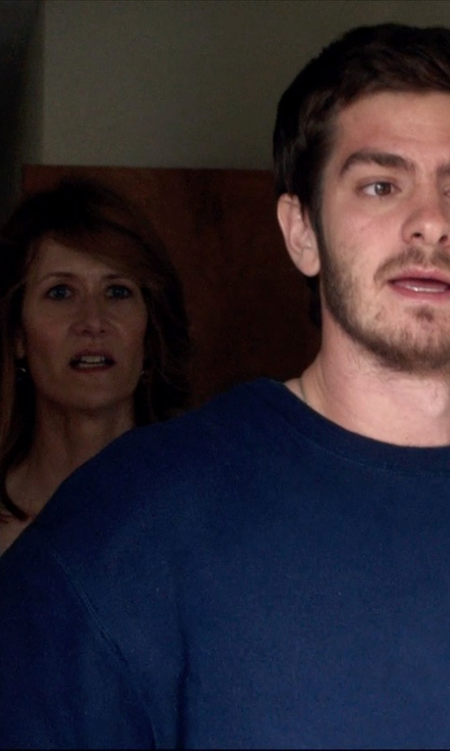 Andrew Garfield with River Island Navy Raglan Sleeve Sweater in 99 Homes