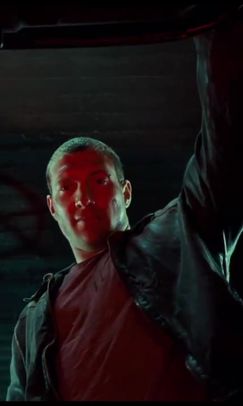 Jai Courtney with Napsugar Leather Bomber Jacket (Custom for Movie) in A Good Day to Die Hard
