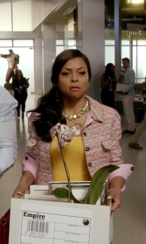 Taraji P. Henson with St. John Collection Silk Piping Tweed Knit Jacket in Empire