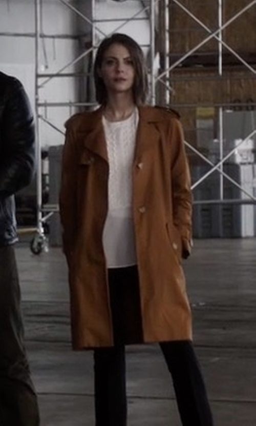 Willa Holland with Sandro 'Malory' Trench Coat in Arrow