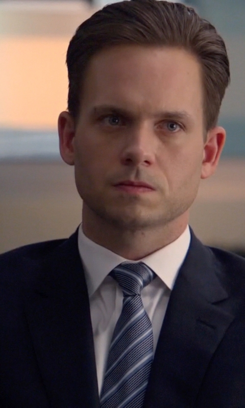 Patrick J. Adams with Ermenegildo Zegna Slim Silk Necktie in Suits