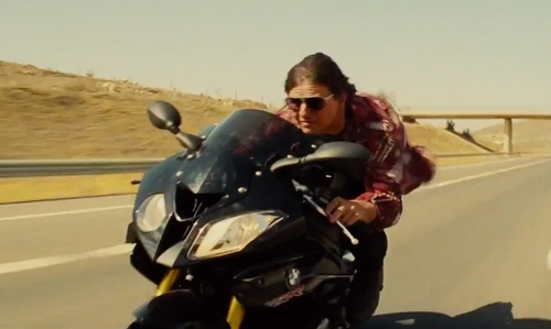 Tom Cruise with BMW S 1000 RR Motorcycle in Mission: Impossible - Rogue Nation