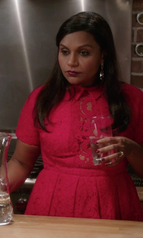 Mindy Kaling with Carven Lace Dress in The Mindy Project