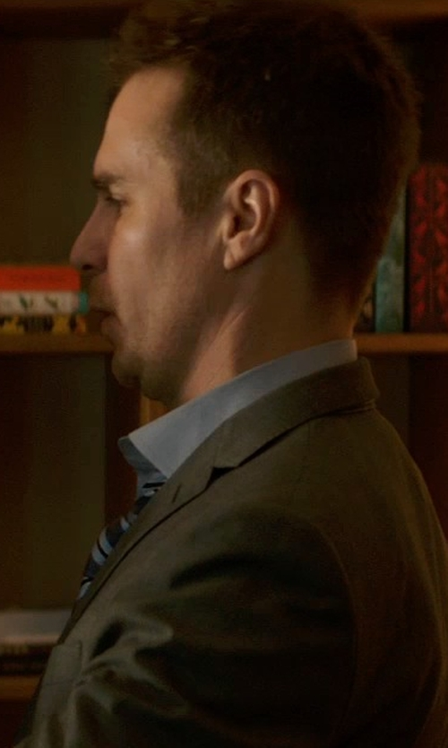 Sam Rockwell with Linea In Blue Striped Necktie in Poltergeist