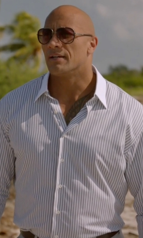 Dwayne Johnson with Ermenegildo Zegna Trofeo Double-Stripe Dress Shirt in Ballers