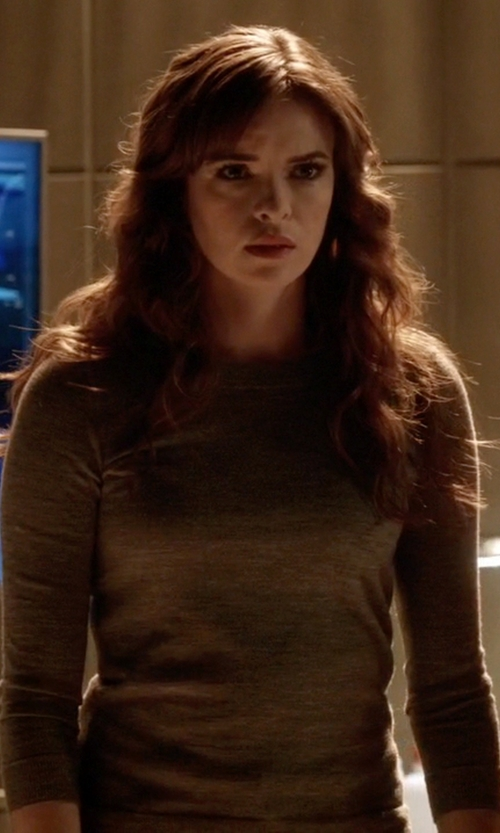 Danielle Panabaker with Vince Fine Gauge Mouline Slub Sweater in The Flash