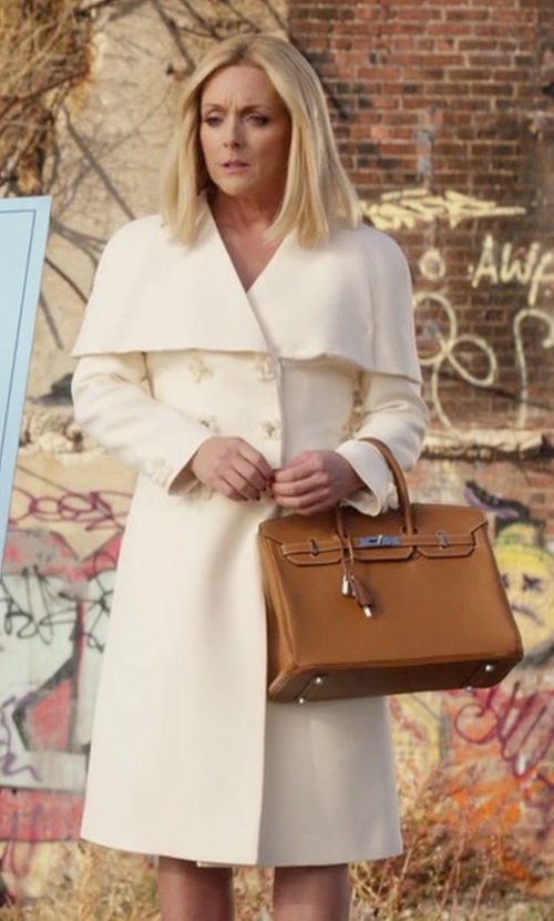 Jane Krakowski with Hermes Birkin 'Gold' Togo Leather Bag in Unbreakable Kimmy Schmidt