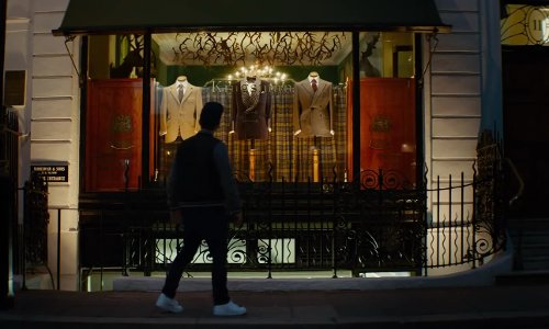 Taron Egerton with H.Huntsman & Sons Ltd (Depicted as Kingsman Shop) London, United Kingdom in Kingsman: The Secret Service