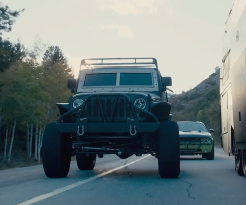 Ludacris with Jeep Wrangler Unlimited SUV in Furious 7