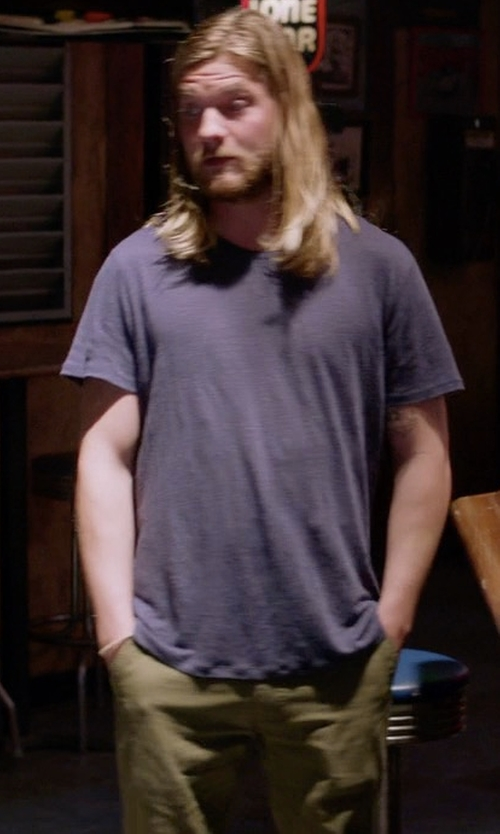 Jake Weary with Faherty Comfort Canvas Trouser in Animal Kingdom