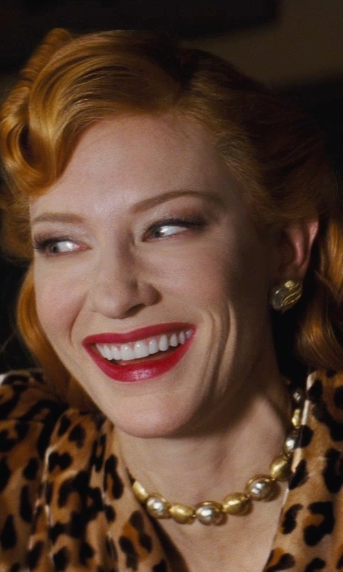 Cate Blanchett with Sandy Powell (Costume Designer) Custom Made Gold Tone Earrings Lady Tremaine) in Cinderella