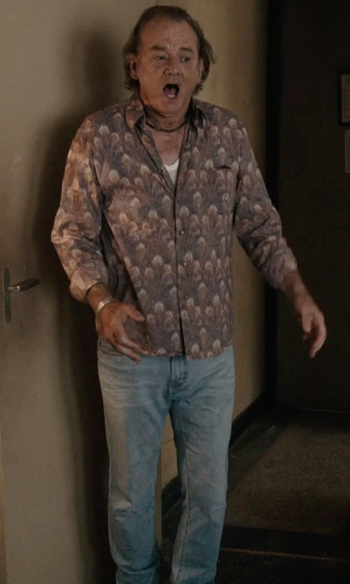 Bill Murray with Jean Shop 'Rocker' Straight Leg Selvedge Jeans in Rock The Kasbah