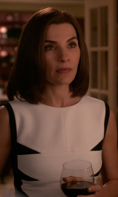 Julianna Margulies with Narciso Rodriguez Paneled Stretch-Crepe Dress in The Good Wife