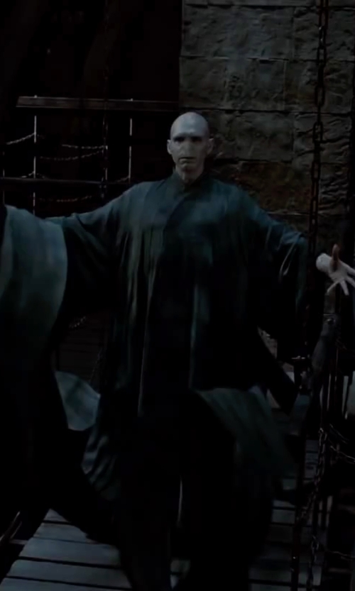Ralph Fiennes with Jany Temime (Costume Designer) Custom Made Lord Voldemort Drape Robe in Harry Potter and the Deathly Hallows: Part 2