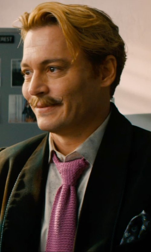 Johnny Depp with TheTieBar Silk Plum Textured Knit Tie in Mortdecai