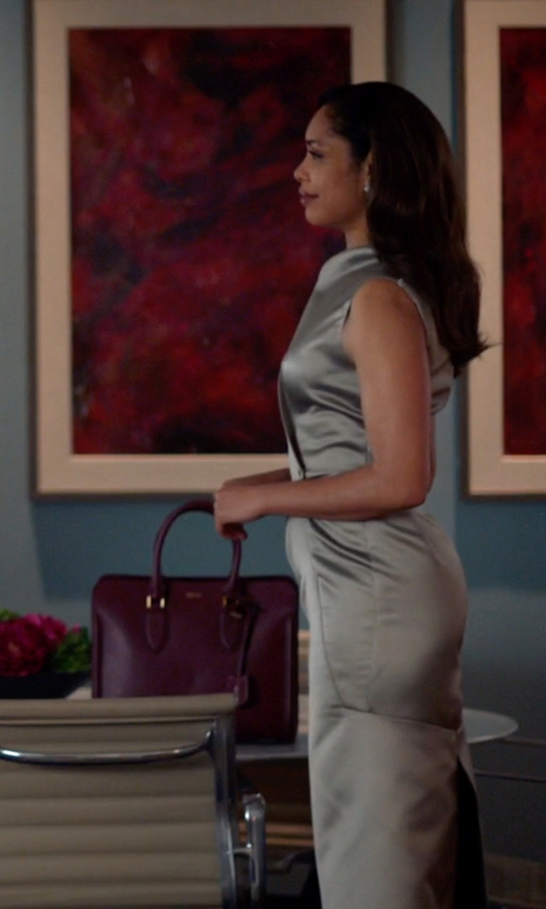 Gina Torres with Alexander Mcqueen Burgundy Leather Heroine Tote Bag in Suits