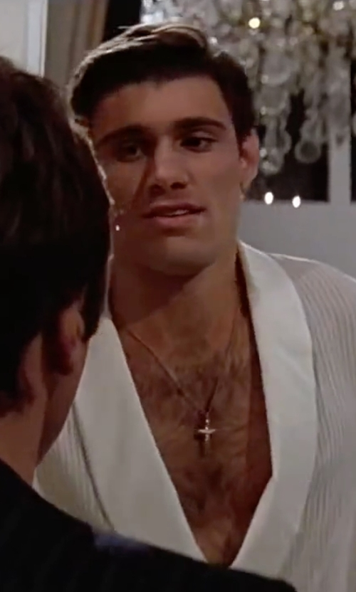 Steven Bauer with Gucci  Branded Cross Pendant Necklace in Scarface