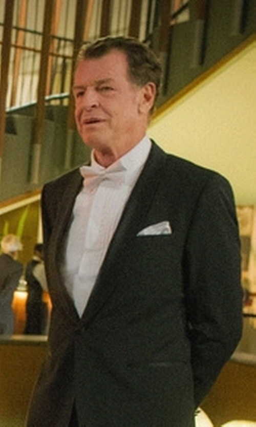 John Noble with Turnbull & Asser Silk Pocket Square in Elementary