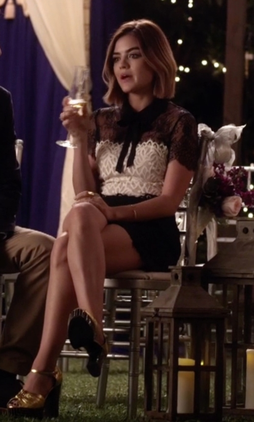 Lucy Hale with Saint Laurent Double-Knot Leather Platform Sandals in Pretty Little Liars