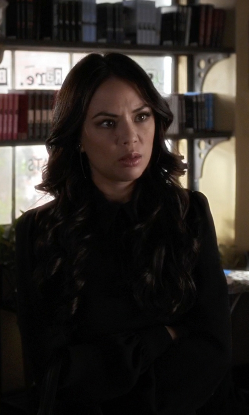 Janel Parrish with Zara Flared Dress With Collar And Bow in Pretty Little Liars