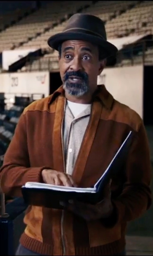 Tim Meadows with Hart Schaffner Marx Holman Cashmere Blend Bomber Jacket in Popstar: Never Stop Never Stopping