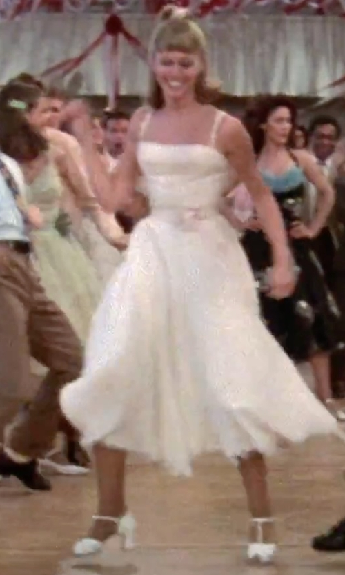 Olivia Newton-John with Rusty Zipper Cocktail Maxi Dress in Grease