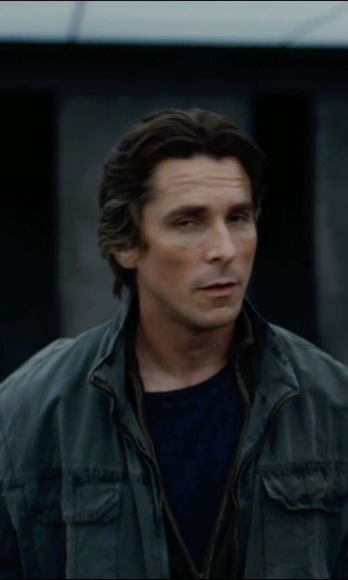 Christian Bale with ATM Anthony Thomas Melillo Crew Neck Vintage Jersey T-Shirt in The Dark Knight Rises