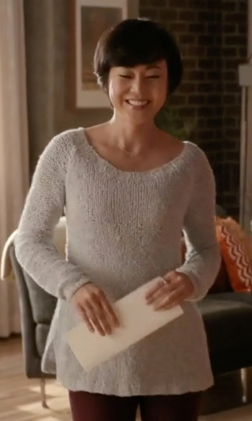 Yunjin Kim with Alice + Olivia Harpo Angled Mesh-Knit Sweater in Mistresses